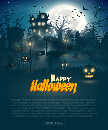 Scary graveyard and house in the woods - Halloween background Stock Illustratie