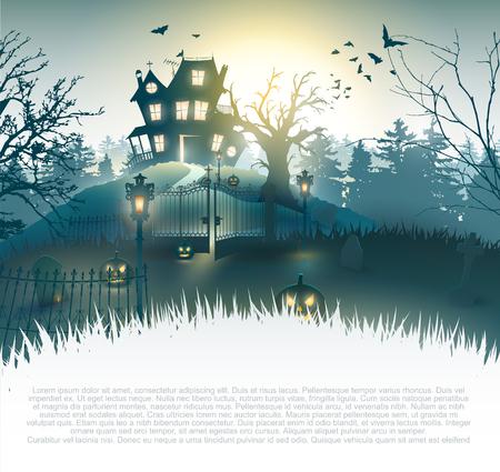 Cimetière effrayant et maison dans les bois - fond d'Halloween avec place pour votre texte