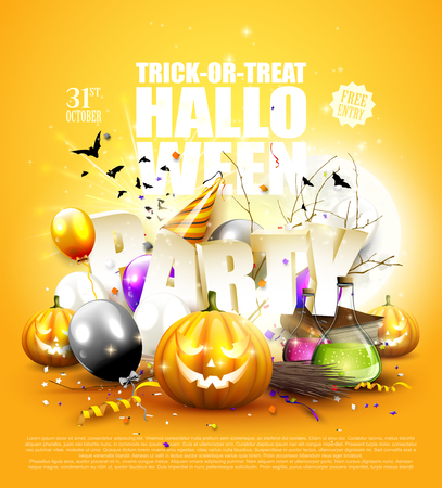 Modern Halloween party background with balloons, confetti and Halloween decorations.