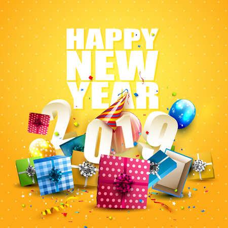 Happy New Year 2019 - Flyer with colorful gift boxes, balloons and party hat on orange background