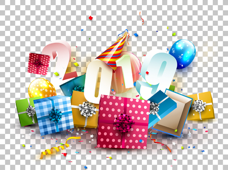 Happy New Year 2019 - Colorful gift boxes, balloons and party hat on transparent background Illustration