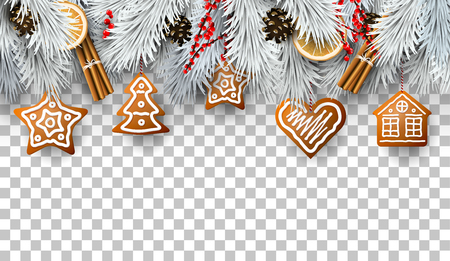 Frontière de Noël avec des branches de sapin, des décorations traditionnelles et des pains d'épices Vecteurs