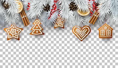Weihnachtsgrenze mit Tannenzweigen, traditionellen Dekorationen und Lebkuchen Vektorgrafik