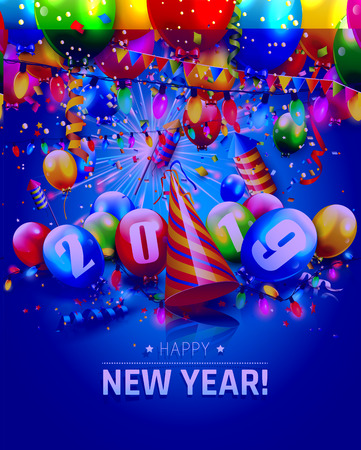 Happy New Year 2019 - greeting card with colorful balloons, fireworks and lights on blue background Illustration
