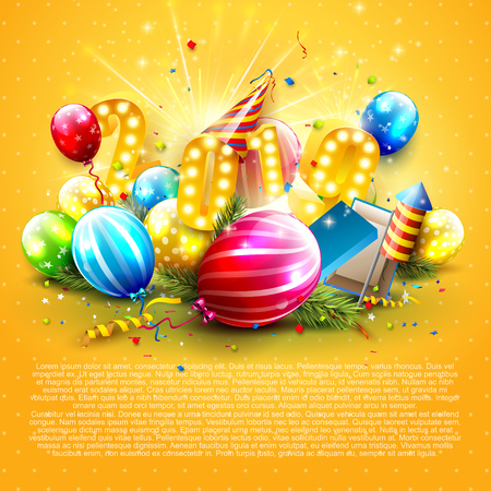 Happy New Year 2019 - Flyer with colorful balloons, giifts and party hat on orange background