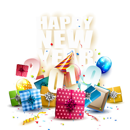 Happy New Year 2019 - Flyer with colorful gift boxes, balloons and party hat on white background