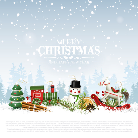 Traditional Christmas background with wooden toys decorations in front of winter landscape Ilustração