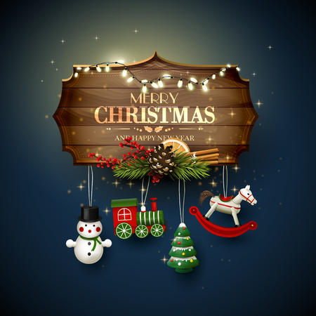 Christmas greeting card with wooden sign and toys decorations Illusztráció