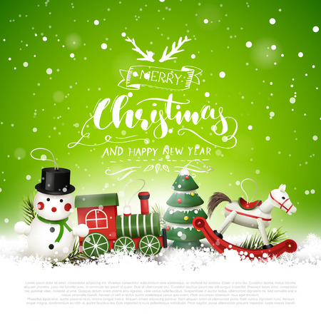 Christmas greeting card with wooden toys decorations in the snow and calligraphic lettering Illusztráció