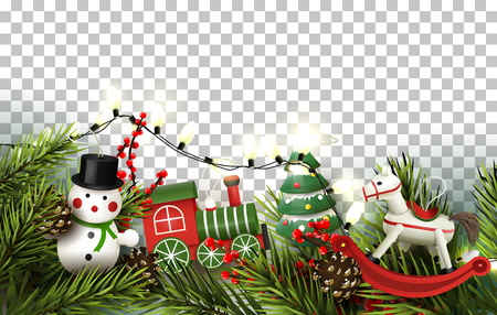 Christmas border with branches and wooden toys decorations