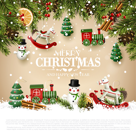 Traditional Christmas greeting card with wooden toys decorations