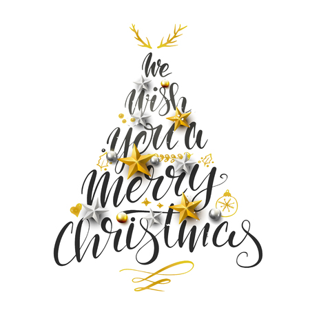 We wish you a Merry Christmas lettering text in the shape of Christmas Tree