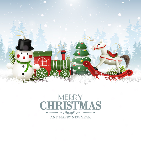 Christmas greeting card with wooden toys decorations in front of winter landscape