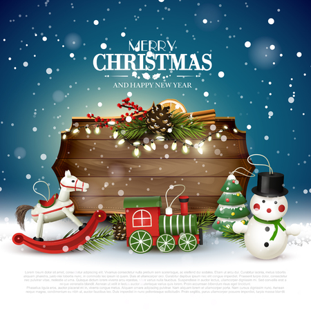 Christmas greeting card with wooden sign and toys decorations Stock Illustratie