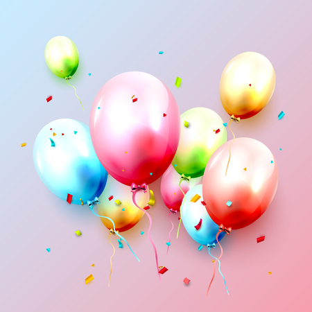 Colorful balloons in pastel colors