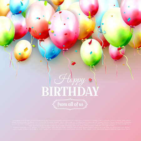 Happy birthday greeting card with colorful birthday balloons on pink background