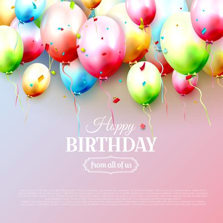 Tarjeta de felicitación de cumpleaños feliz con globos de cumpleaños de colores sobre fondo rosa Ilustración de vector