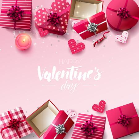 Valentines Day greeting card with gift boxes, candle and paper hearts on pink background 向量圖像