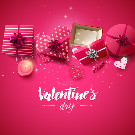 Valentines Day greeting card with gift boxes, candle and paper hearts on pink background Illusztráció