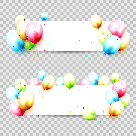 Birthday banners with colorful balloons