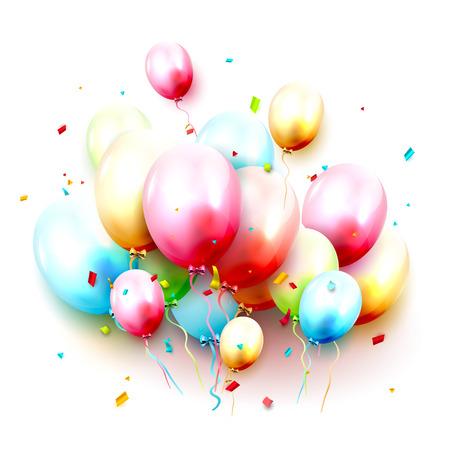 Birthday background with colorful birthday balloons on white background Illusztráció