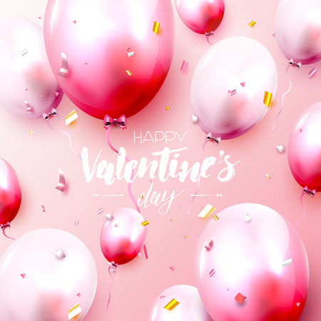 Valentines Day greeting card with pink and red balloons