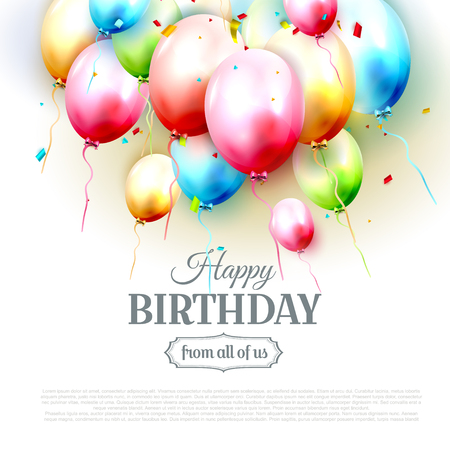 Happy birthday greeting card with colorful birthday balloons on white background