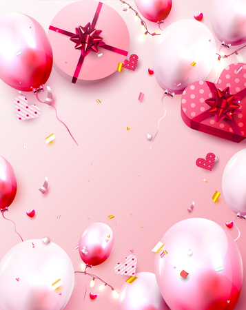Valentines Day greeting card with pink and red balloons and gift boxes