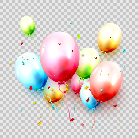 Colorful balloons in pastel colors on transparent background