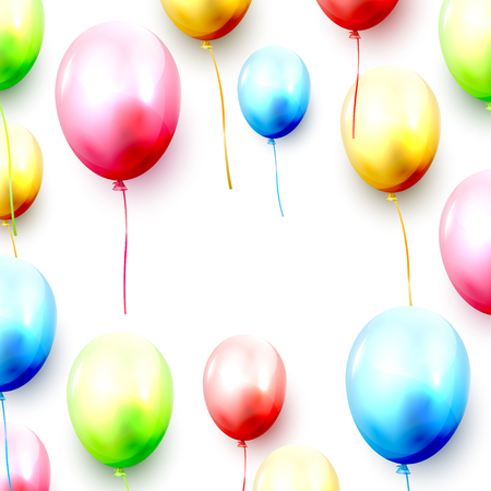 Birthday balloons and confetti on white background. Space for your text