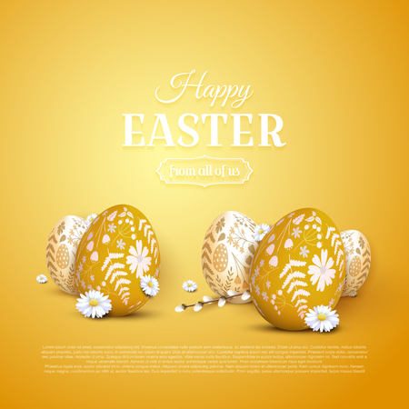 Modern Easter greeting card with Easter eggs with floral pattern.