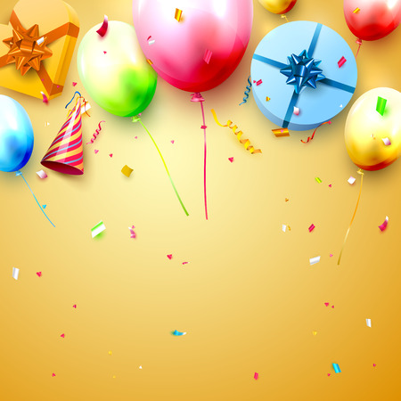 Happy birthday party template with colorful balloons, gift boxes and confetti on orange background. Space for your text Illusztráció
