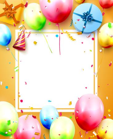 Plantilla de fiesta de cumpleaños feliz con globos de colores, cajas de regalo y confeti sobre fondo naranja. Espacio para tu texto