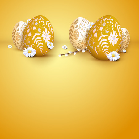 Modern Easter background with Easter eggs with floral pattern. Illusztráció
