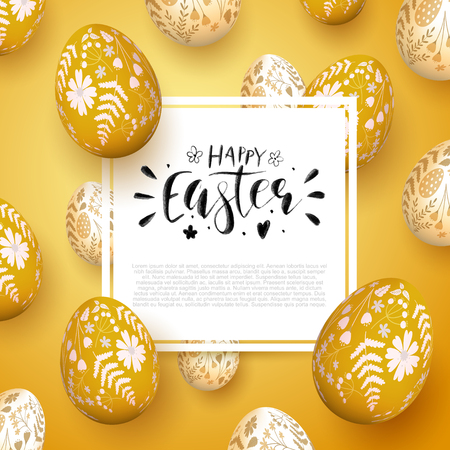 Romantic Easter background with Easter eggs with floral pattern. Brush lettering. Space for your text