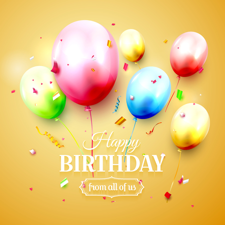 Happy birthday greeting card with colorful birthday balloons and confetti on orange background Illusztráció