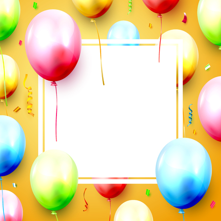 Birthday balloons and confetti on orange background. Space for your text