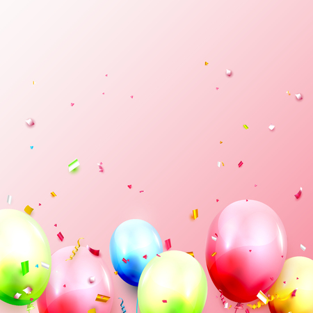 Birthday balloons template with balloons and confetti on pink background. Space for your text Illusztráció