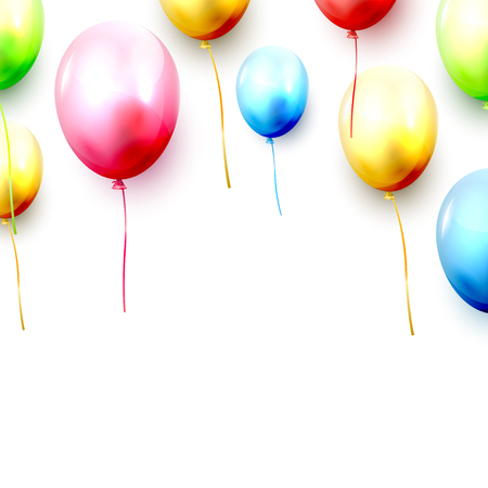 Birthday template with colorful birthday balloons and confetti on white background. Space for your text Stock Illustratie