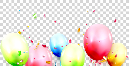 Colorful Birthday balloons and confetti on transparent background.