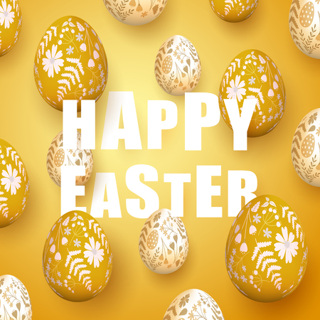 Modern Easter background with orange Easter eggs with floral pattern.