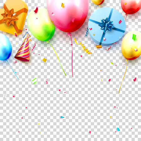 Happy birthday party template with colorful balloons, gift boxes and confetti on transparent background. Space for your text