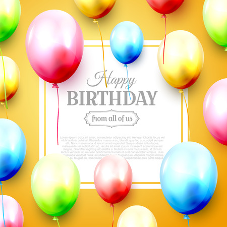 Happy birthday greeting card with balloons on orange background. Space for your text