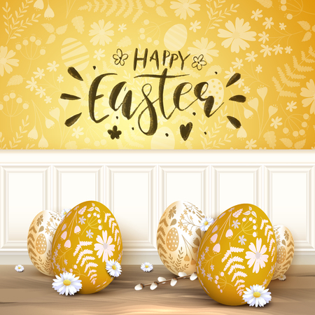 Modern Easter background with orange Easter eggs with floral pattern. Brush lettering.  Stock Illustratie