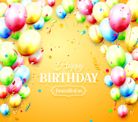 Happy birthday greeting card with colorful birthday balloons and confetti on orange background 向量圖像