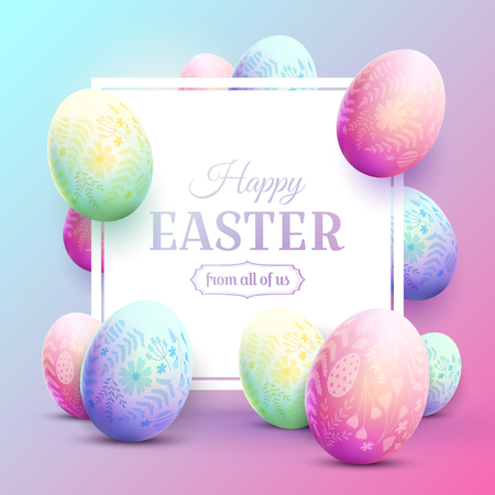 Happy Easter greeting card with Easter eggs  with floral pattern. Modern 80s trendy style.