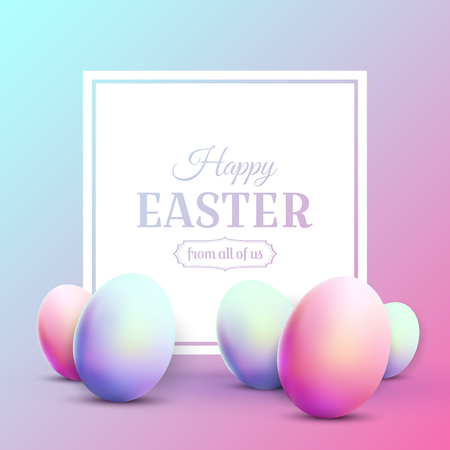 Happy Easter greeting card with Easter eggs. Modern 80s trendy style.