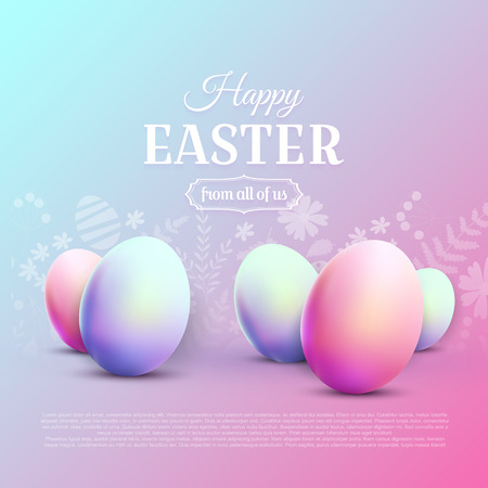 Happy Easter greetin card. Modern 80s trendy style. 向量圖像