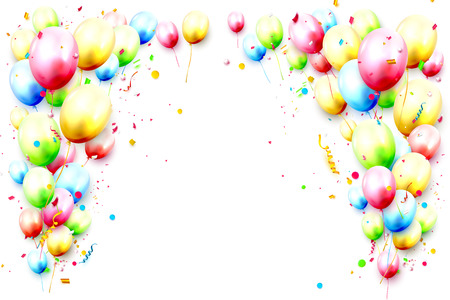 Happy template with colorful birthday balloons and confetti on white background. Place for your message