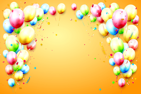 Birthday template with colorful birthday balloons and confetti on orange background. Place for your message